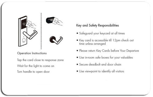 RFID key card instructions