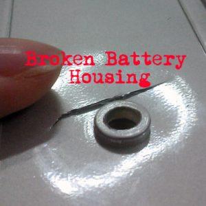 broken battery housing