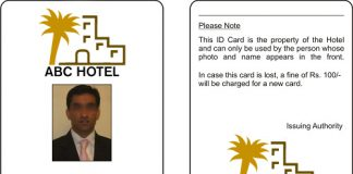 hotel staff card print sample